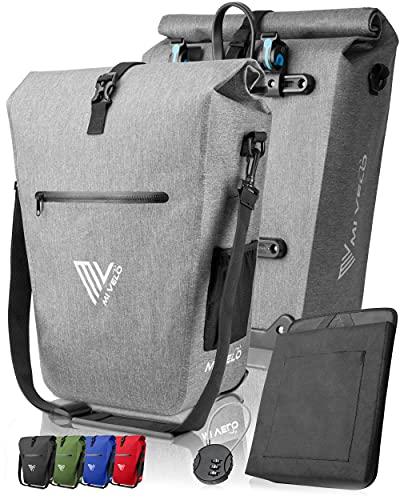 MIVELO Fahrradtasche Gepäckträgertasche wasserdicht 100{1e4bb47bcc8b1b43743bec0a1361d06f3da2ddba1ab7a94f7ed4fab52cedc7c6} PVC frei + Laptopfach + Schloss + Schultergurt – Fahrrad Tasche für Gepäckträger 1 STK grau
