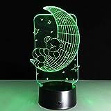 Illusion lampe 3D Led Veilleuse Bande Ours de la lune chambre lampe de chevet cadeau de noël maison Avec chargement USB, changement de couleur coloré