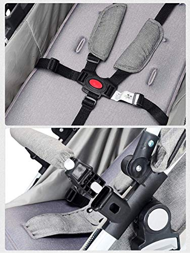 LAMTON Baby Stroller High Landscape, City Jogging Four-Wheel Collapsible Two-Way Shock Adjustable Baby Stroller to Send Mosquito Net Cotton Pad Foot Cover Wrist Band, Suitable for 0-36 Months Baby LAMTON This double stroller features an aeronautical aluminum frame that makes it lighter and stronger, and the fabric is made from linen for a more breathable and refreshing look. The front wheel design of the stroller can be rotated 360°, the built-in spring shockproof, strong shockproof, adapt to a variety of review roads, making the baby more comfortable. Stroller configuration: equipped with a five-point seat belt, detachable armrests, adjustable pusher height, and an enlarged basket at the bottom. 6