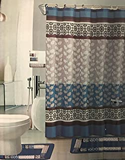Riely Blue 18-Piece Bathroom Set: 2-Rugs/mats 1-Fabric Shower Curtain 12-Fabric Covered Rings 3-pc. Decorative Towel Set