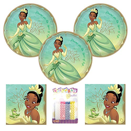Princess Tiana Party Supplies Pack Serves 16: 9' Plates and Luncheon Napkins with Birthday Candles (Bundle for 16)