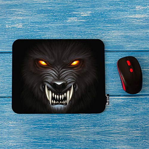Mugod Mouse Pad Angry Werewolf Face in Darkness Decor Gaming Mouse Pad Rectangle Non-Slip Rubber Mousepad for Computers Laptop 7.9x9.5 Inches