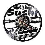 ZZNN Reloj de Pared de Vinilo 1 Pieza Rollers de Sushi Diseño Light Sign Decoración de Cocina Vinyl Record Clock Delicious Food Wall Art Gift para Sushi Lover jnsd1809
