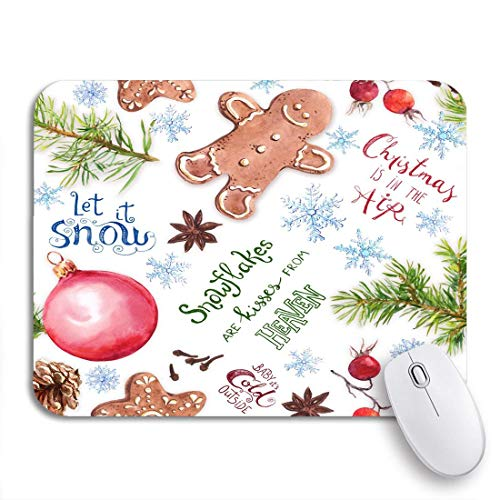 Gaming mouse pad weihnachtsbaum zweige lebkuchen kekse kugeln schneeflocken und winter rutschfeste gummi backing mousepad für notebooks computer maus matten