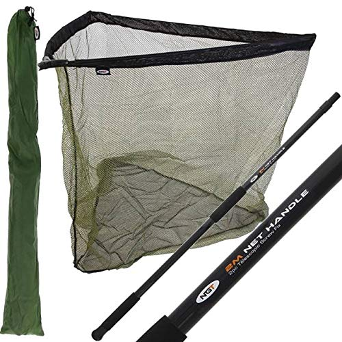 NGT 42' INCH CARP FISHING LANDING NET 2M HANDLE WITH STINK BAG - Black & Green With a Deluxe Feel and Finish