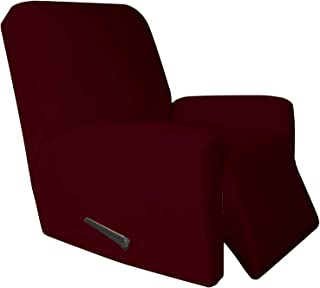 Best Easy-Going 4 Pieces Microfiber Stretch Recliner Slipcover – Spandex Soft Fitted Sofa Couch Cover, Washable Furniture Protector with Elastic Bottom for Kids,Pet (Recliner,Wine Review