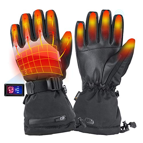 Heated Gloves for Men Women - Electric Heating Motorcycle Gloves, Rechargeable Battery Heated ski Gloves for Winter Outdoor Hunting. (Large)