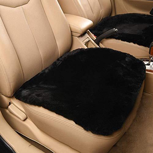 Minisoo Non-Slip Soft Luxurious Faux Sheepskin Fur Seat Cushion Winter Warm Car Interior Wool Car Seat Cover Pad Mat Universal Fit Auto, SUV, Truck, Office,Home Chair 18x18 inch (Short , Black)