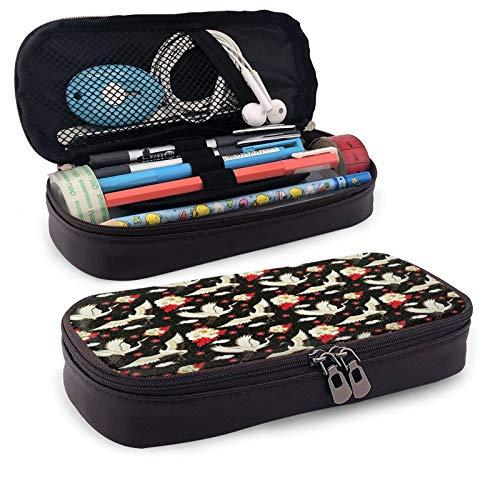 Estuche japonés Sakura Crane de gran capacidad para lápices de piel para estudiantes, caja de almacenamiento