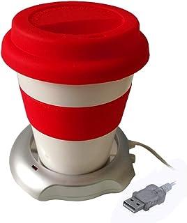 FUN FAN LINE - Special Set! Taza de café/té con Tapa y Agarre de Silicona + Calentador de Taza USB para Mantener su Temperatura (Rojo/Plata)