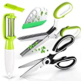 Ponwec Herb Scissors Set & Kitchen Shears - 4Pcs Kitchen Tools Set Includes 1xLeaf Herb Stripper,1xKitchen Shears,1xHerb Scissors,1xVegetables Peelers for Mince Chicken,Fish,Meat,Rosemary Herb(4 PCS)