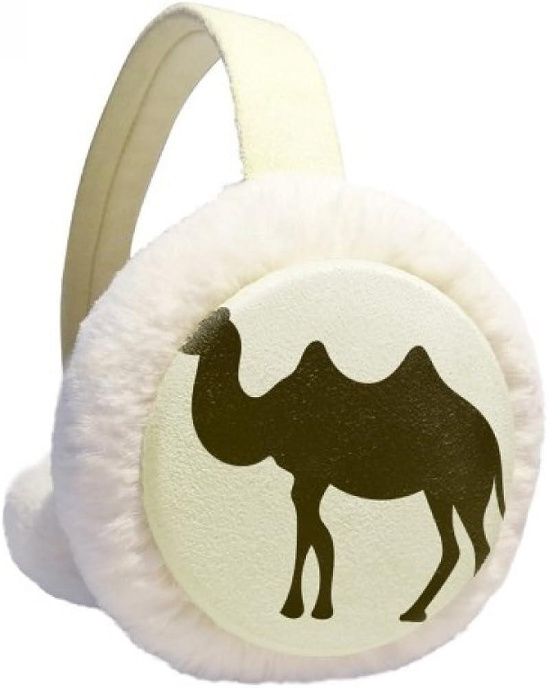 Black Camel Cute Animal Portrayal Winter Ear Warmer Cable Knit Furry Fleece Earmuff Outdoor