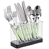 mDesign Organizador de cubiertos para tenedores, cuchillos, cucharas – También sirve como cubertero para cucharones, espátulas,… - El ideal accesorio para cocina - Color: negro mate/transparente