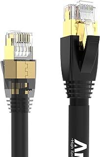 CAT8 LANケーブル 1m、AMPCOM 次世代 カテゴリー8ケーブル(24AWGの導体 / 爪折れ防止 / 40Gbps 伝送帯域 2000MHz 40ギガビットイーサネット / 金メッキ厚50μ 低煙ゼロハロゲン