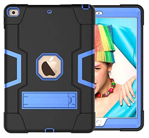 HNKHKJ Schwere Shochproof Silikon Rüstung Abdeckung für iPad 10 2 7. Gen A2198 A2200 A2232 10 2Tablet Funda Capa Fall für Kinder + Film + Pen-Black_Blue