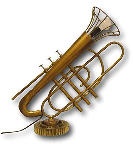 Urban Design TR-L01 - Lámpara de pie para mesa y suelo, estilo trompeta, para E27, metal en aspecto de latón, 20 x 60 x 70 cm