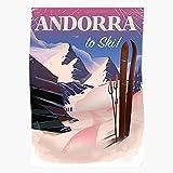 Mountain Sport Europe Of Holiday Ski Vacation Andorra Principality Regalo para la decoración del hogar Wall Art Print Poster 11.7 x 16.5 inch