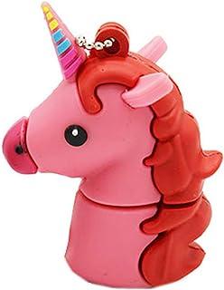 Novelty Pink Unicorn Shape Design 16GB USB 2.0 Flash Drive Cute Memory Stick Horse Thumb Drive Data Storage Pendrive Carto...