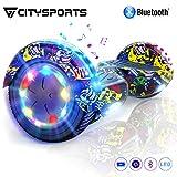 CITYSPORTS Overboard 6.5 Pouces Hover Board Bluetooth, Gyropode Self-Balance Board Moteur 700W avec Roues LED Flash,Skateboard Electrique Enfant Adult