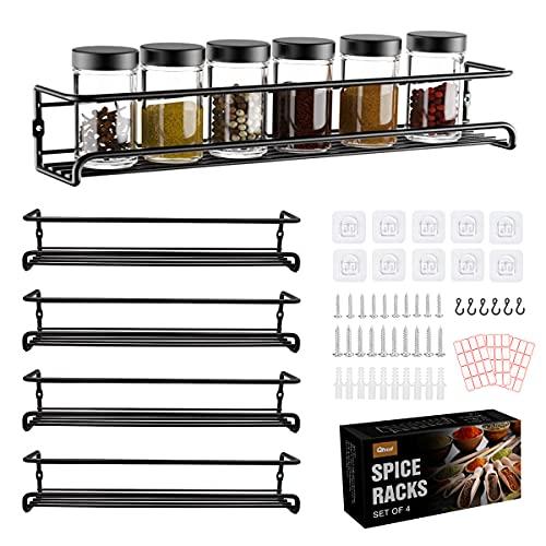Qhui Set de 4 Especiero de Cocina Pared Estante Para Metálicas Autoadhesivo Organizador Especias Almacenamiento de Especias Estante Largo Para Refrigerador, Armario de Cocina, 29 x 6,35 x 6 cm, Negro