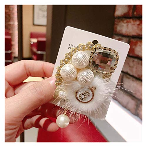 Zxebhsm Broche Vintage New Woman Broochen Pin Plaid Ribbon Encaje Belleza Brillante Pom Pon Broche Moda Corsage Dama Accesorios (Metallfarbe : B)