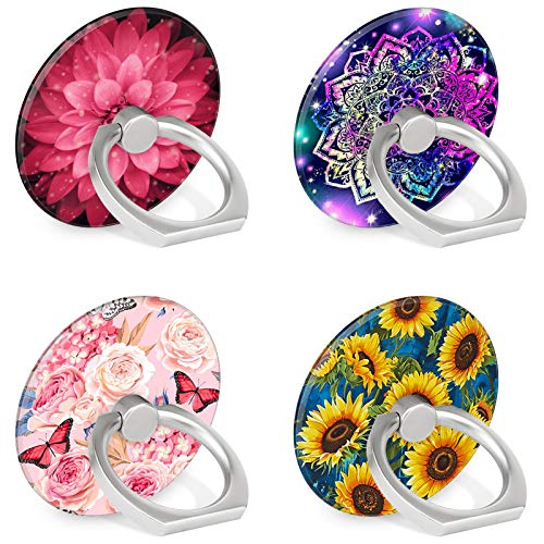 4-Pack Phone Ring Holder 360 Rotation Finger Stand Grip Kickstand for Smartphones and Tablets (Floral)