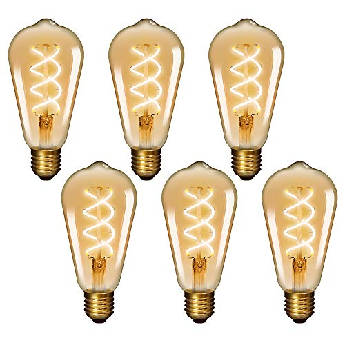 Lamparas Bombillas Decorativas LED Filamento de Tungsteno Espiral Edison E27 Vintage 5W 450Lm Luz Calida 2400K para Lampara Colgante Retro No Regulable Lot de 6 de Enuotek