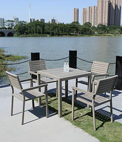 Hmcozy Gran Patio de Aluminio de Primera Calidad Patio Bistro fijado, al Aire Libre Patio antisépticas Madera plástica Muebles de Sistemas, 5 Pieza Patio Patio Conjunto de Mesa y sillas