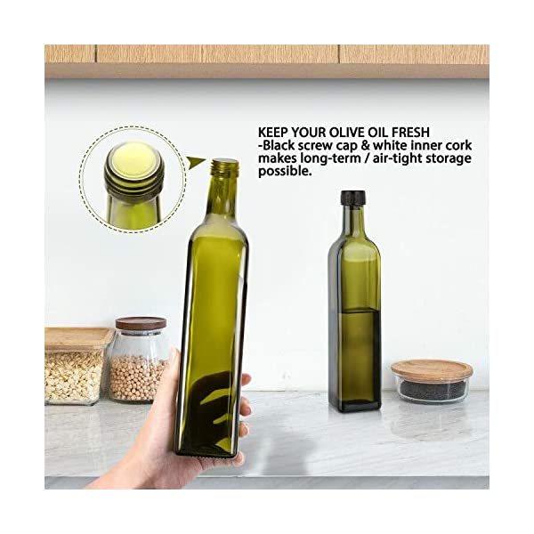 Aozita 17oz Glass Olive Oil Bottle - 500ml Green Oil & Vinegar Cruet with Pourers and Funnel - Olive Oil Carafe Decanter… 6 51 vfyRCokL
