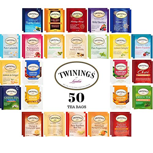 Twinings Herbal and Decaf Tea Bags Sampler Set - Caffeine Free Gift Variety Pack Assortment - Handmade 100% Cotton Pouch Included - 50 Ct, 25 Flavors
