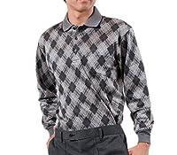 リトルアイランド メンズウール混ニットシャツ グレー系 L