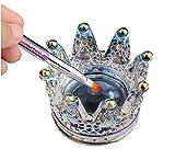 Corona Nail Art Dappen Plato Anillos de Vidrio Plato 2 en 1 Nail Pen Holder Nail Crystal Bowl Uñas Copa Acrílico Polvo...