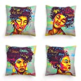 African Girl Throw Pillow Covers 18x18 Set of 4, Gray Green Pillow Covers African Womens Throw Pillow Covers Watercolor Girls Word Pillowcase Decor Beautiful Cushion Cover for Livingroom Outdoor Sofa