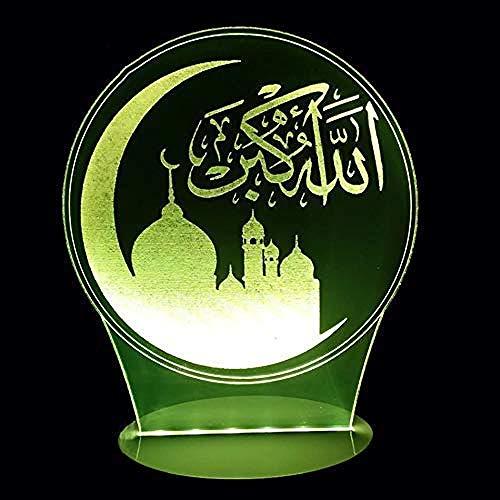 7 colores cambian 3D Led luminosa arquitectura islámica habitación de bebé lámpara de mesa decoración del hogar luz creciente atmósferas sueño luz nocturna
