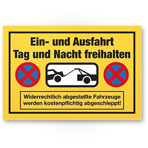 Ein- / Ausfahrt Tag- / Nacht Freihalten Kunststoff Schild (30 x 20cm), Warnhinweis - kostenpflichtig abgeschleppt, Hinweisschild Einfahrt - auch gegenüber, Parken verboten - Parkverbot, Halteverbot