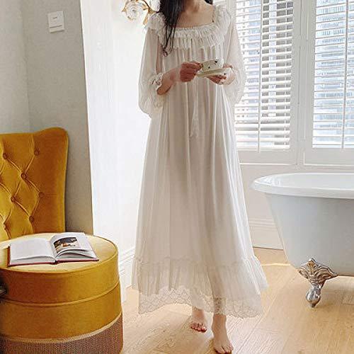 HUANSUN Damen Retro Nachthemd Langarm Gaze Spitze Stil Home Wear Loose Plus Size Schlafkleid Vintage Nachthemd, Weiß, L.