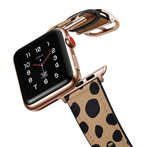 amBand Top Grain Leather leopard Band Compatible with Apple Watch 38mm 40mm, Unique Designed Replacement Strap Animal Print for iWatch Series 5/4/3/2/1 Cheetah Dots Wristband with Rose Gold Adapter