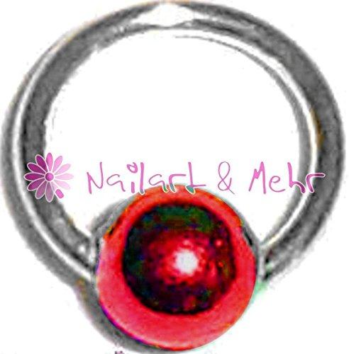 Fingernagel-/Nailart Piercing-Kugel, STERLING-SILBER, Kugel: ROT, 4mm, #NP-105