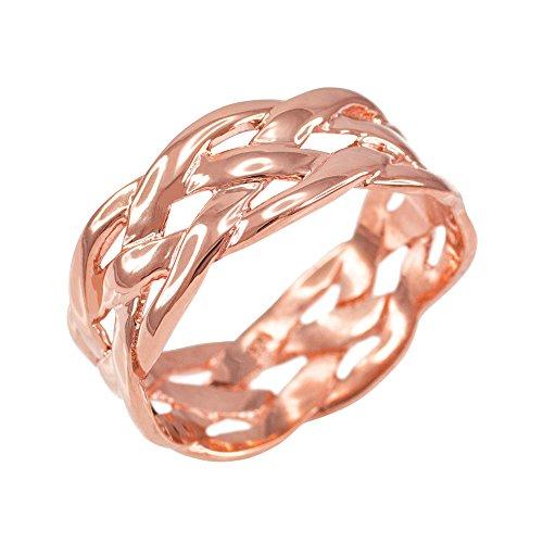 Celtic Weave Wedding Band in Polished 14k Rose Gold (Size 9.5)