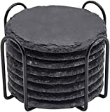 GOH DODD Drink Coasters with Holder, 8 Pieces Rustic Round Slate Stone Coasters 4 Inch Handmade Coasters for Bar and Home, Black