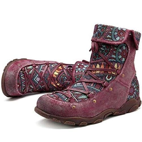 Dames Retro Bohemian Ankle Booties winter outdoor sneeuwschoenen schoen dames leer side zip rond toe platte kuitlaarzen casual vintage