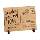GiftsForYouNow Engraved Sending Love Wood Postcard, 5 1/4' w x 3 3/4' h x 1/4' d, Stand Included