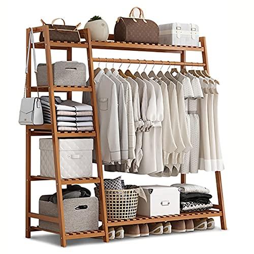 Perchero de piso,suspensión de bambú multifuncional trapezoidal,estante simple para la sala de estar del dormitorio del hogar/primary color / 110x40x140cm