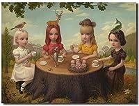 マークライデンの4つの要素の寓話キャンバスプリントモダンウォールアートシュルレアリスム油絵ポップポスター寝室の家の装飾写真40x60cmフレームなし