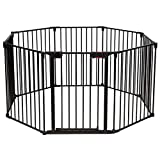 Costzon Baby Safety Gate, 4-in-1 Fireplace Fence, 181-Inch Wide Barrier with Walk-Through Door in Two Directions, Add/Decrease Panels Directly, Wall-Mount Metal Gate for Pet & Child (Black, 8-Panel)