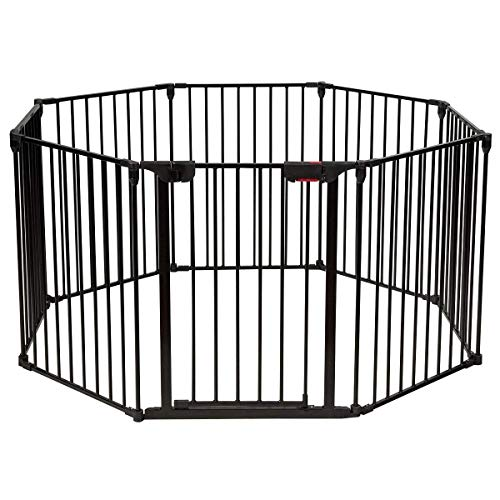 Costzon Baby Safety Gate, 4-in-1 Fireplace Fence,...