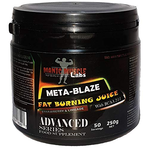 Manic Muscle Labs Meta-Blaze Fat Burning Juice/Pre Workout Weight Loss Formula with BCAA - Strawberry & Limeade