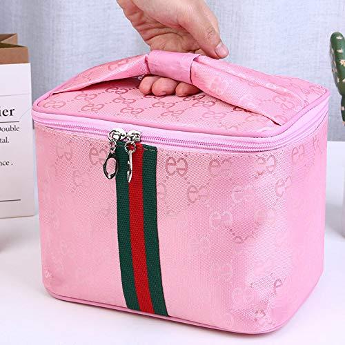 Portable Grand Dessin animé étanche Sac carré Sac cosmétique Maquillage boîte 25 * 26 * 18 CM Grand Portable Double E Rose