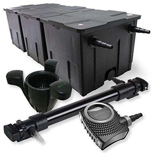 SunSun 3-Kammer Filter Set 90000l 72W UVC 6er Teich Klärer NEO10000 80W Pumpe Skimmer