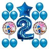 xunlei Globo 14pcs Globo 30 Pulgadas número de lámina Helio Globos bebé Baby Shower Fiesta de cumpleaños decoración Juguetes inflables (Color : 2)